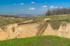 Landscape with ravines. Near Dnepr river in Dnepropetrovsk city area, Ukraine stock image