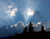 Landscape with rays Stock Images