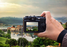 Landscape on the rear lcd screen digital camera stock image