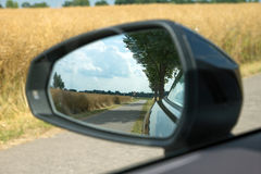 Landscape in the rear-view mirrors Royalty Free Stock Photos