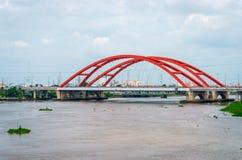 Landscape of the red bridge Stock Image