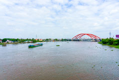 Landscape of red bridge and river Royalty Free Stock Image