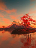 Landscape with red tree. Water and clouds Stock Images