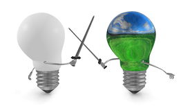 Landscape-reflecting light bulb fighting duel with swords against white one. On white Stock Photo