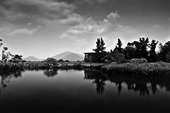 Landscape Reflection on water in Black & White Stock Photos