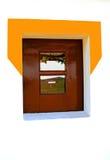 Landscape reflex in the window. Landscape green field reflex in a rustic window Royalty Free Stock Image