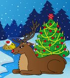 Landscape with reindeer. Vector illustration Royalty Free Stock Photography