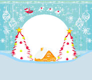 Landscape with reindeer, house and Santa Royalty Free Stock Image