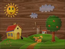Landscape relief painting on generated wood background Stock Photography