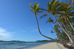 Landscape of a remote tropical beach in Fiji Royalty Free Stock Photos