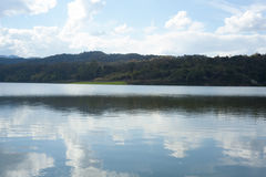 Landscape. At reservoir nature and blue sky royalty free stock image