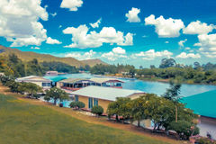 Landscape Resort ,made oil paint effect Stock Photography