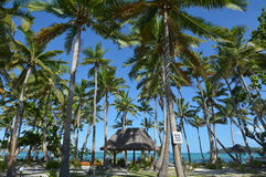 Landscape of a resort on tropical beach in Fiji Stock Images