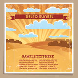 Landscape Retro Sunset Poster Stock Photos