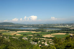 Landscape with Rhone river in France Royalty Free Stock Image