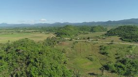 Landscape with rice terrace field. Philippines, Luzon. Aerial view of rice terrace, agricultural land of farmers. Tropical landscape with farmlands on Luzon stock video