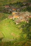 Landscape rice terraces and village in china Royalty Free Stock Photo