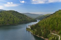 Landscape with the right arm of the Valea Draganului - Floroiu lake. Stock Photos