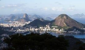 Landscape of Rio de Janeiro. Aerial view of Rio de Janeiro including Sugar Loaf Mountain stock photo