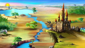 Landscape with rising sun, blue river and magical castle. Magical fairy tale castle on a rock above the blue river in a summer morning. Digital painting Royalty Free Stock Photography
