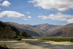 Landscape with a river. Beautiful landscape in tibet, china Royalty Free Stock Image