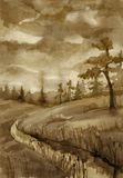 Landscape with river. Landscape in sepia tones with pine-tree and river. Watercolour Stock Image