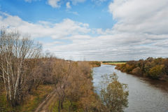 Landscape with the river 982. Autumn landscape with the river in a midland of Russia stock photos