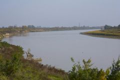 Landscape, river. River in Azerbaijan, Kura Royalty Free Stock Photo