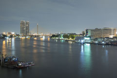Landscape of River and in Bangkok city Stock Photography