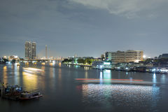 Landscape of River and in Bangkok city Stock Images