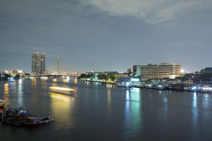 Landscape of River and in Bangkok city Royalty Free Stock Images
