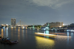 Landscape of River and in Bangkok city Royalty Free Stock Photography