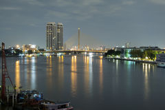 Landscape of River and in Bangkok city Royalty Free Stock Photo