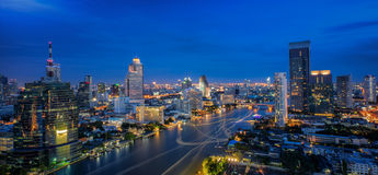 Landscape of River in Bangkok city Royalty Free Stock Photography