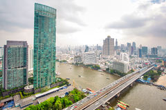 Landscape of River in Bangkok city in day time Royalty Free Stock Images
