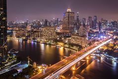 Landscape of River in Bangkok city  at night Stock Images