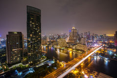 Landscape of River in Bangkok city  at night Royalty Free Stock Photo
