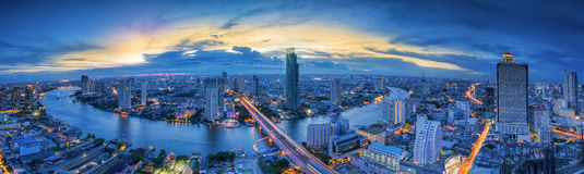Landscape of River in Bangkok city Royalty Free Stock Photo