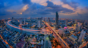 Landscape of River in Bangkok city Stock Image