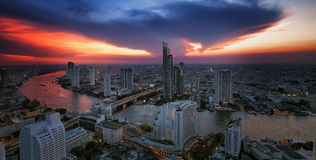 Landscape of River in Bangkok city Royalty Free Stock Photos