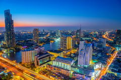 Landscape of river in Bangkok cityscape in night time Royalty Free Stock Photo