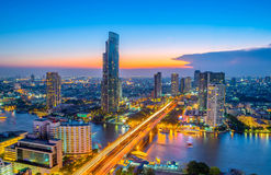 Landscape of river in Bangkok cityscape in night time Royalty Free Stock Images