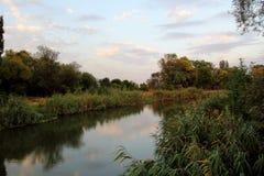 Landscape. River bank. Autumn landscape. River bank on sunset Stock Photo