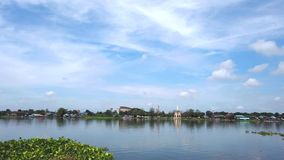 Landscape river and beautiful clouds on blue sky livelihoods by the river stock footage