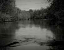 Landscape on the river in black and white image Royalty Free Stock Photo