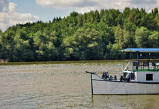 Landscape with river and boat royalty free stock photo