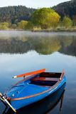 Landscape by the river with boat Royalty Free Stock Image