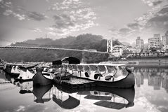 Landscape of river and boats Royalty Free Stock Image