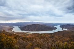 Landscape of the river Danube. Turn of the river Danube, hilly landscape stock images