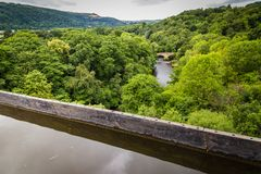 Landscape river Dee Wales, UK. Landscape with a view on the river Dee from Llangollen Aqueduct in Wales, Uk stock photo
